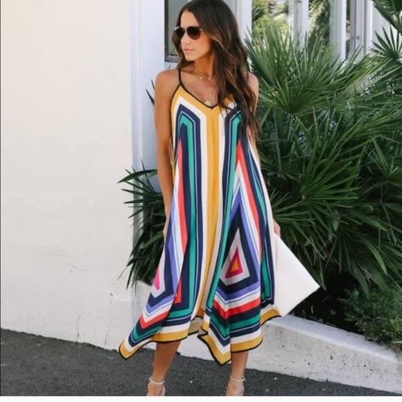 Vici Striped Midi Dress